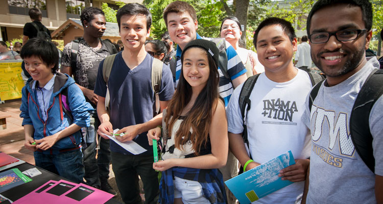 Students in the courtyard during SpringFest
