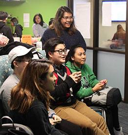 Students in the gameroom